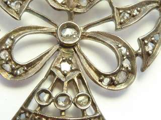 Beautiful Georgian Antique Gold & Silver Diamond Set Brooch 17.6g