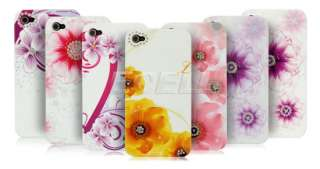 Floral Diamante Bling Hard Back Case Cover for Apple iPhone 4   Pink