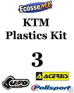 UFO KTM PLASTICS KIT 3 Motocross SX525 05 06 WHITE