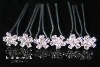 6PCS WEDDING BRIDAL CRYSTAL RHINESTONE HAIR PINS RP11