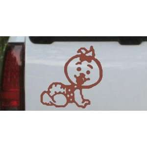 Baby Girl Crawling Car Window Wall Laptop Decal Sticker    Brown 14in