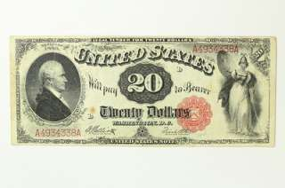1880 Twenty Dollar $20 United States Legal Tender Note Bill Red Seal F