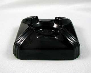 ART DECO Black Amethyst Glass INKWELL BASE Only SWIVODEX