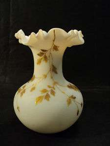 BEAUTIFUL WEBB ENAMELED ART GLASS VASE w/ GILT DESIGN