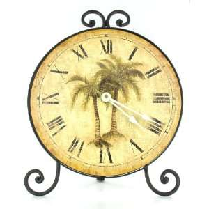 Palm Tree Tropical Theme Table Mantle Clock Home Decor