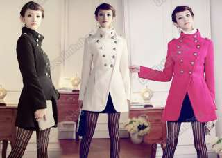 Womens Jacket Military Trench Coat Stand Collar Double Breasted Butto