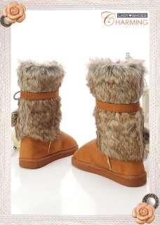 Warm♥ Womens Australian Classic Faux FURS Boots Brown