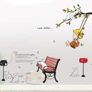 ] Tree Swinging Baby Cats Nursery Children Room Decor