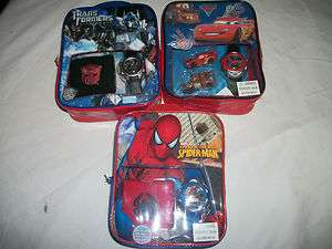 BOYS DISNEY PIXAR TOY STORY CARS SPIDERMAN TRANSFORMERS WATCH GIFT SET