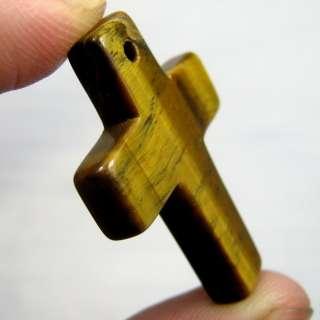 Natural Golden Tiger Eye Crystal Cross Pendant D2387