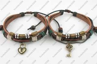 Lot 2 Surfer Tribal Hemp Leather Bracelet Wristband Men Women 4 Lovers