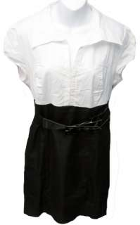 GUESS Womens L Black/White Tori Belted Mini Dress NWT $68