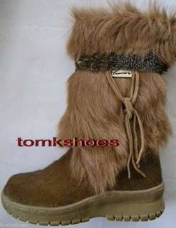 BEARPAW BEAR PAW KOLA CALF/GOAT FUR BROWN BOOTS SIZE 6