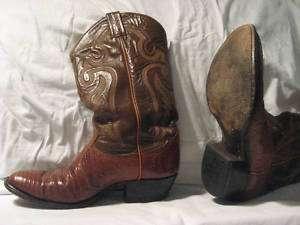 TONY LAMA WESTERN BOOTS Camel Brown Lizard Size 8 1/2 D