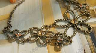 Retro Bronze Style Crystal Beautiful Flower Choker Necklace
