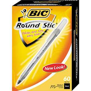 Bic Round Stic Ballpoint Pen Black Ink Med Point 60 Pen