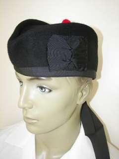 Black Glengarry Wool Hat 4 Kilts Army Bagpipe 60 cm
