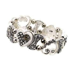 Fashion Jewelry Desinger Inspired Silver Hart Pattern Cuff