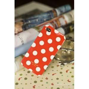 Designer White Polka Dot Red iPhone 4 Case of TOP QUALITY