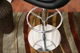 WHITNIE faux leather MODERN bar stool (set of 2) BlacK