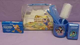Walt Disney Snow White Travel Case Blue Brush Comb Soap Tissues