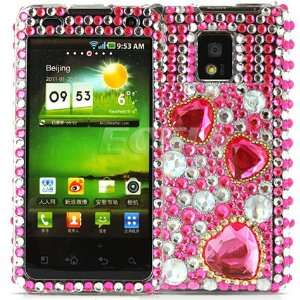 Ecell   PINK HEARTS CRYSTAL BLING CASE COVER FOR LG