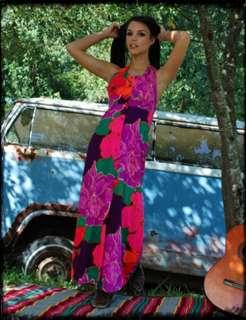 Vintage 60s Neon Halter Huge Floral Empire Maxi Dress