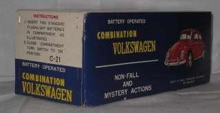COMBINATION VOLKSWAGON BATTERY OPERATED TIN CAR MIB BLUE C 21