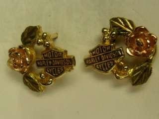 Harley Davidson Black Hills Gold Post Earrings 10K Scrap Gold or Not 2