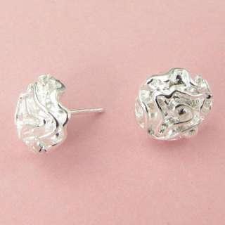 New Beautiful silver Earring Womens rose flower earrings Fashion
