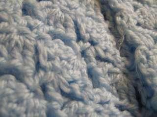Hand Crocheted BABY BLUE Shawl Crib Blanket