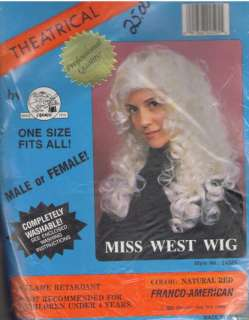 West THEATRICAL WIG Dance HALLOWEEN Masquerade Costume Fits All