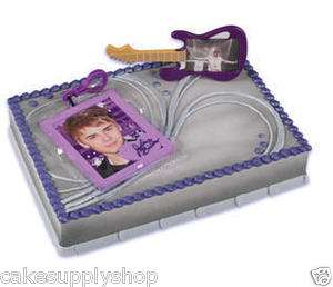 JUSTIN BIEBER PHOTO GUITAR BIRTHDAY PARTY CAKE TOPPER DECORATION TOYS
