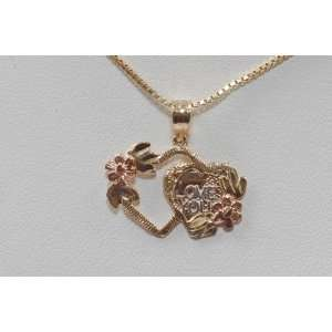 Yellow Gold Chain & Double Heart Pendant I Love You Style