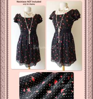 Polka Dots Red Rose Floral Chiffon RETRO/Vintage Style Dress