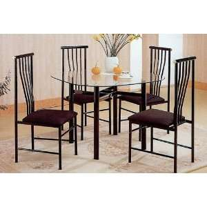 5pc Black Metal Glass Top Dining Room Table Chairs Set