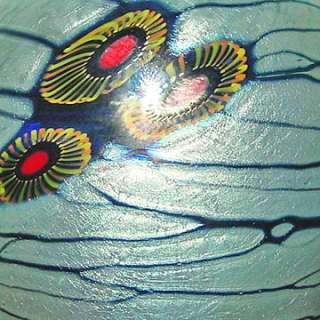 Signed LINDSAY Blue Arts & Crafts Small Art Glass Vase