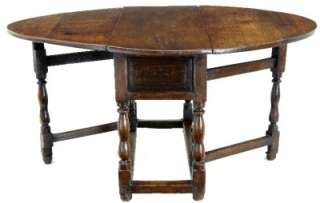 18TH CENTURY ANTIQUE COUNTRY OAK GATELEG TABLE