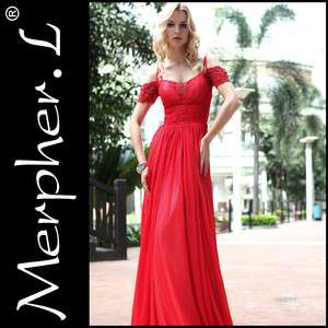 Off the shoulder Silk Red Bridemaid cocktail Long evening dress