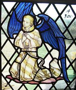 Antique STAINED GLASS Window   ANGEL Boy   Bible Scene (SG833)