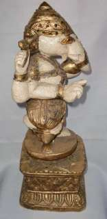 LARGE BURMESE TEAK WOOD GOLD LEAF GANESH STATUE.