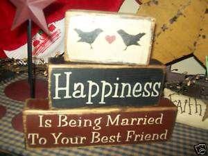 PRIMITIVE BLOCK SIGN~~HAPPINESS MARRIED BEST FRIEND~~
