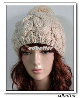 Cute Beige Braided Knited Warm Beret BEANIE SKI Style Hat Cap Women