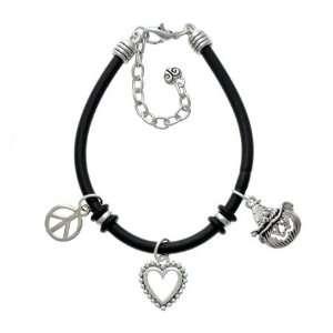 Silver Jack OLantern with Witch Hat Black Peace Love Charm Bracelet