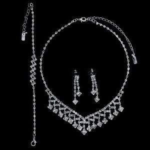 Silver Tone Rhinestone Bridal Necklace Earrings Bracelet 3