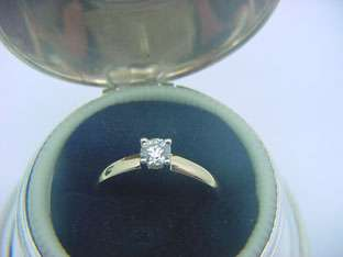 BIRKS 18k YELLOW WHITE GOLD 23pt DIAMOND SOLITAIRE RING