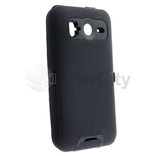 Black Double Layer Hard Skin Case Cover For HTC Desire HD/Inspire 4G