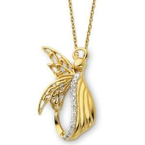 Silver & Gold plated Angel of Perseverance 18in Necklace Jewelry