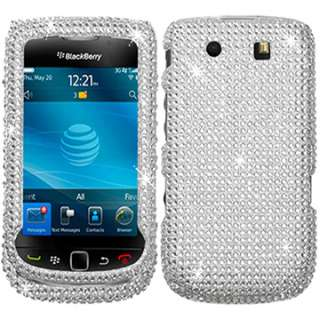 WHITE CRYSTAL BLING CASE COVER BLACKBERRY TORCH SILVER 9800 9810