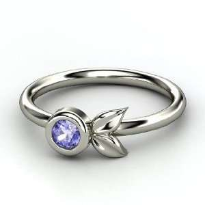 Boutonniere Ring, Round Tanzanite 14K White Gold Ring